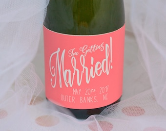Engagement Party I'm Getting Married Mini Champagne Bottle Labels - Party Stickers - Custom Designed & Printed