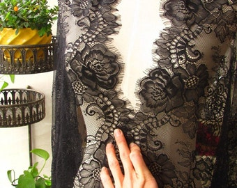 Lace Fabric, Eyelash Lace Fabric, Chantilly Lace Fabric, Black Lace Fabric, 25.5 inches Wide for Dress, Veil, Craft Making, 3 Meter/piece