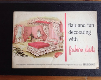 Vintage 1960s  Flair and Fun DECORATING with Fashion SHEETS Booklet by Springmaid