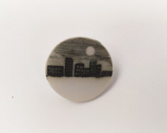 Moon City Porcelain Brooch