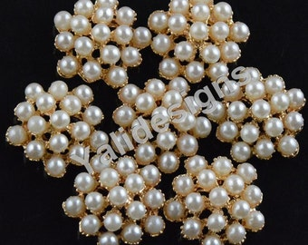 Set of 10pcs 18mm Crystal Pearl Flower Brooch- Children Headbands or Hair Clips-YTB71
