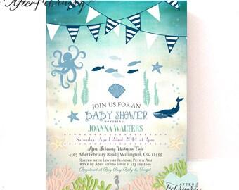 sea creatures baby shower invitation sea animals invitation baby boy under the sea baby shower printable