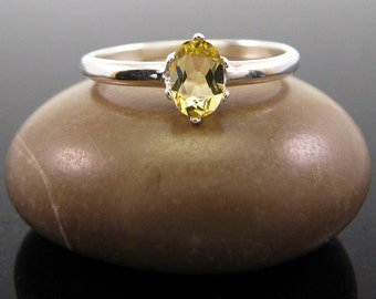 Beryl ring silver, golden beryl ring, size 4 5 6 7 8 9 10 sterling silver oval 6x4 mm