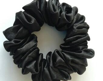 Black Satin Hair Scrunchie
