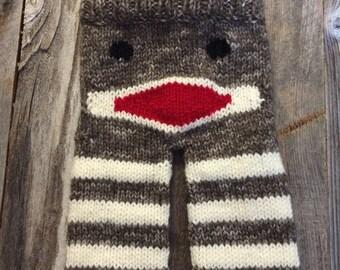NewBorn Hand Knit Sock Monkey Booty Pants - Ready To Ship