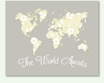 Nursery Print World Map Neutral Colors Beige Gray Wall Decor Jpg Pdf Poster Digital Print Instant