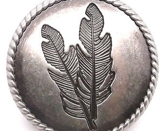 """Feather Concho Antique Nickel with Rope Border Screwback 1-1/4"""" 3655-21"""