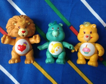 "Vintage 1983 1985 Care Bears 3"" cousins posable action figures Brave Heart Lion Birthday Wish Bear turquoise 1980s toys cake decorations 80s"