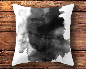 Black White Pillow Case, abstract, pillow case, cushion cover,  black and white home decor art, ink painting, ink art, minimalist
