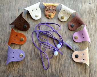 Cord organizer earbud cord holder leather cable holder cable cord keeper earbud organizer leather earphone organizer headphone holder