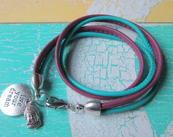 Leather-Bracelet Nappa leather*with Charms*Buddha*Live your dream*Hippie Style