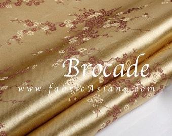Gold Brocade. Champagne Brocade. Cherry Blossom Fabric