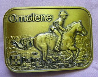 Vintage • Purina Omolene Horse RIding Belt Buckle | Animal Agriculture Cowboy Cow boy Cowgirl Cow Girl Ag | Made in USA
