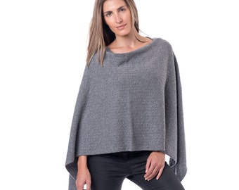 Grey Cashmere Poncho/Grey Cable Knit 100% Poncho/Cable Knit Poncho/Gray Cashmere Poncho