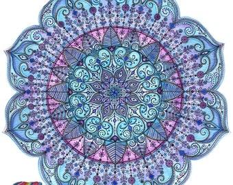 Beautiful, Intricate, Blue Mandala Print