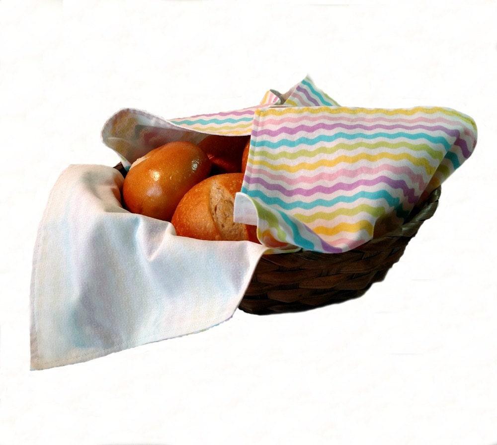 bread basket liner and warmer in pastel chevron print. Black Bedroom Furniture Sets. Home Design Ideas