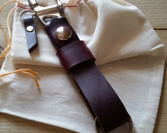 Burgundy Horween Chromexcel Leather Keychain with Snap Shackle Clasp