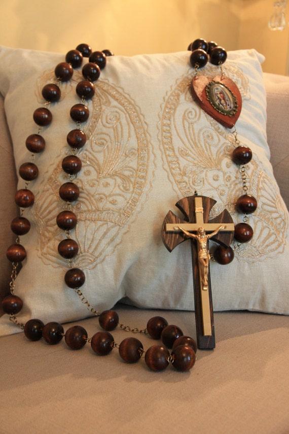 Large Wall Rosary Dark Brown By Marianiterosaryguild On Etsy