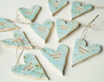 Rustic Wedding Favors, Turquoise Heart, Set of 10 pieces, Ceramic Heart Ornament, Wedding Party Favors, Bomboniere, Rustic Style