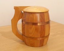 Vintage wood beer mug || can be used as a pencil / pen stand, home decor, vase etc.