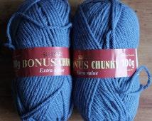 Acrylic Yarn Destash Sirdar Bonus Chunky Extra Value 2 100g Balls Denim Blue Knitting Crochet Toy Making Supplies