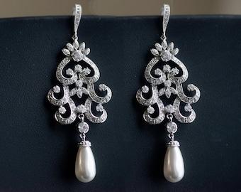 Statement Wedding Earrings Rhinestone Earrings, Swarovski Pearls Art Deco Wedding Jewelry - Vintage Inspired Bride Jewelery, Bridal Jewelry