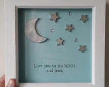 Love you to the moon and back frame, clay moon & wooden stars 7x7 inch