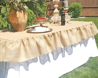 Burlap Ruffle Tablecloth or Table Topper with one single waterfall ruffle