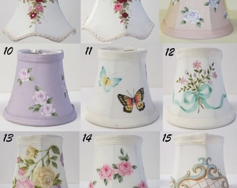 Hand-Painted Chandelier or Sconce Clip-on Mini Shades Made to Order,