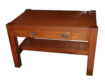 4847 Antique Oak Mission Table with Center Drawer c. 1910