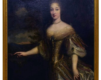 7891 Circle of Francois de Troy, Portrait of La Duchesse de Longueville, 18th C. Oil