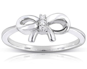 Diamond Accented Bow Ring in 10k White Gold