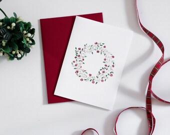 Holiday Greeting Card - Christmas Wreath Card