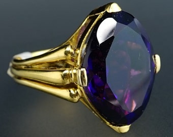 14K Yellow Gold Marquise-Cut Midnight Purple Amethyst Navette Vintage Ring