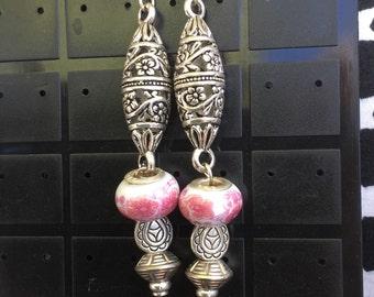 Pink Murano bead & Tibetan silver Earrings