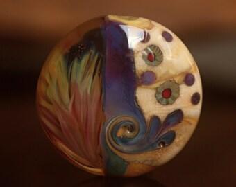 Pamela - Lampwork focal lentil bead