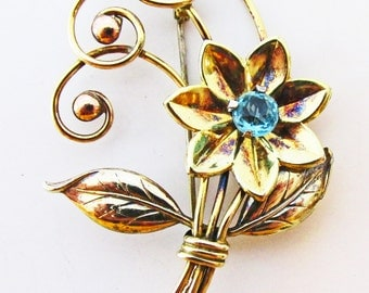 Marvelous Vintage 1940s Signed Harry Iskin Gold Filled Rhinestone Floral Pin