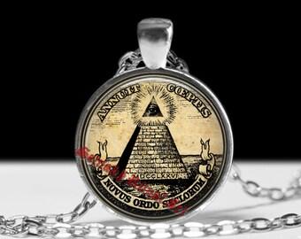 Masonic jewelry,  Novus Ordo Seclorum pendant, occult pyramid necklace,  magic amulet, esoteric, sacred jewelry #73