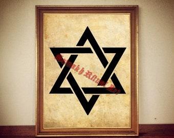 Star of David print, jewish symbol illustration hexagram poster, magic print, antique home decor, hebrew altar #272