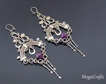 Unique filigree chandelier earrings