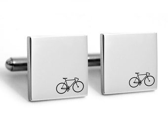 Bike cufflinks, engraved bicycle, Bicycle Cufflinks, Sports Cufflinks, retro bike, racing bike, cycle