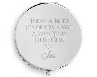 Mother of the Bride Compact Mirror, Personalised Engraved, Custom Mother of the Bride, Gift Wedding