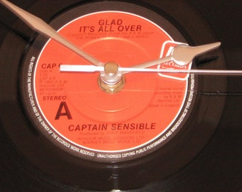 "Captain Sensible glad it's all over 7"" vinyl record clock"
