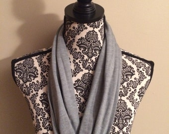 Silky Grey Jersey Knit One Loop Infinity Scarf