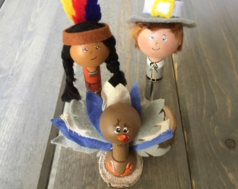 Thanksgiving Decoration - First Thanksgiving - Wooden Pilgrim - Native American - Turkey Decorations - Holiday Host Gift - Thanksgiving gift