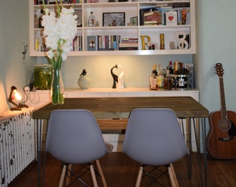 Industrial Kitchen Table x2 Chairs and Bench Mid Century Style hairpin