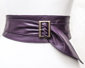 Purple Leather Obi Buckle Belt | Purple Belt | Corset Obi Belt | Leather Buckle Belt | Plus Size Belts