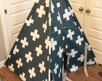 Toddler Teepee - Play Tent - Navy & White Swiss Cross
