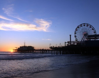 Los Angeles Art / Santa Monica Pier - California Gift - Sunset - Large Art Canvas Photography / Photograph / Print / Wall Art / Metal
