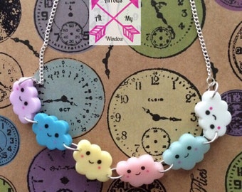 Kawaii cloud necklace, Cloud necklace, Cute Kawaii necklace, Cute Kawaii cloud necklace, Kawaii necklace, Kawaii jewellery,